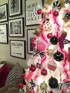 Polka dot ornaments from HomeGoods add a classically fabulous touch to this girly pink tree! (Sponsored pin)