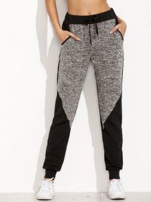 Shop Two Tone Space Dye Sweatpants online. SheIn offers Two Tone Space Dye Sweatpants & more to fit your fashionable needs.Product name: Space Dye Panel Sweatpants at SHEIN, Category: Pants Sweatpants Decorated with Drawstring, Colorblock. Sporty Outfits, Cute Outfits, Fashion Outfits, Fashion Clothes, Sport Fashion, Womens Fashion, Long Pants, Refashion, My Wardrobe