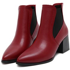 Red Point Toe Square Heel Chelsea Boots (94 BAM) ❤ liked on Polyvore featuring shoes, boots, ankle booties, high heel boots, winter boots, chelsea boots, sexy red boots and high heel booties