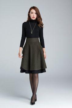 Short wool skirt winter skirt layered skirt skater skirt