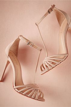 neutral high-heeled bridal shoes | Garance T-Straps from BHLDN