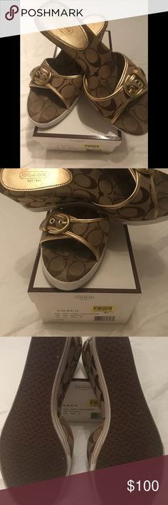 Coach Perry collection / sneaker slides Authentic and rare!!!!! 🙃😍 and it's limited edition ...crazy! Coach Perry collection sneaker slides.  Khaki with gold trim. Rubber sole with 2 gold stripes on each shoe. Buckle on top. Comes with Coach box and instructions how to take care of the shoes. Not mew❤️. These shoes were hard to track down and hard to find. 🌸⚡️....they are comfy like sneakers yet a high level of cuteness 🦋 Coach Shoes Wedges