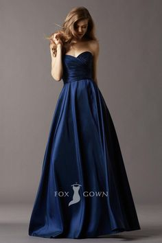 navy blue sweetheart strapless ruched bodice floor length ball gown bridesmaid dress