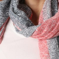 Ladies' Coral flower print scarf, by Style Slice, features tiny flowers pattern with a contrasting border. Elegant spring or summer shawl that can be personalised with a charm or a monogram. Suitable as a gift for anniversary, birthday or any day in which to tell the woman in your life, be it a Mum, Wife, Sister or Girlfriend, that she is special. #scarf #shawl #wrap #scarves #fashion #vintage #handmade #acessories #etsy #gift #coral #flower #headwrap #ootd #personalized