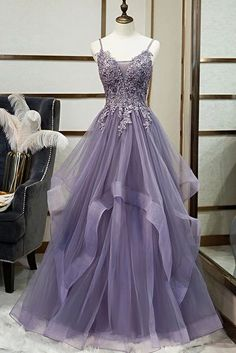 Unique Long Tulle Spaghetti Straps Layered Prom Dress With Applique from Sweetheart Dress Straps Prom Dresses, Pretty Prom Dresses, Tulle Prom Dress, Ball Dresses, Cute Dresses, Evening Dresses, Party Dress, Tulle Lace, Purple Grad Dresses