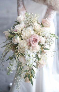 Exquisite Blush Pink Cascading Wedding Bouquet Inspo