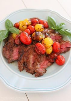 Skillet Skirt Steak with Balsamic Cherry Tomatoes Recipe on Yummly