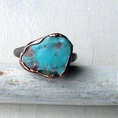 Copper Ring Turquoise December Birthstone by MidwestAlchemy, $67.50
