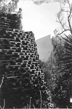Los Angeles Historic-Cultural Monument No. 184, a twenty-two-foot tall stack of 2,000 pallets with an open room inside. Constructed by Daniel Van Meter in 1951, the tower deteriorated and was finally removed in 2006. L.A. Dept of City Planning
