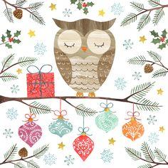 Owl Christmas greetings card illustration by Imogen Hudson Christmas Owls, Merry Little Christmas, Christmas Images, Christmas Design, Winter Christmas, Xmas, Christmas Ideas, Owl Illustration, Christmas Illustration