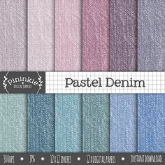 Denim Digital Paper Fabric Texture Jeans Scrapbooking by Pininkie