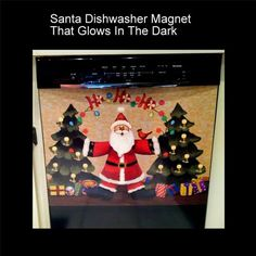 "Santa Dishwasher Magnet Glow In The Dark Christmas Decorations Tree 23"" X 17"""