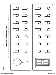 b-d Letter Reversal: Match Beginning Sound Worksheet is a printable activity for your students to practice identifying letters b and d.