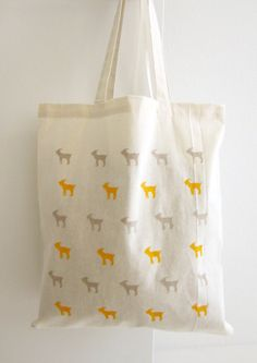 Canvas Tote Bag, Large Tote, Goat Pattern, Yellow, Gray, Design Tote Bag on Etsy, $22.00