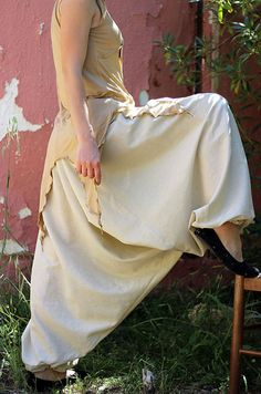 Beige Sand harem pants for men and women  Yoga and by lunalin