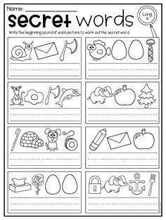 Secret Words Worksheets - CVC, Short Vowels and Long Vowels - Distance Learning Short I Worksheets, Vowel Worksheets, Sight Word Worksheets, Letter Worksheets, Kindergarten Worksheets, Teaching Child To Read, Kindergarten Learning, Cvc Words, Lettering