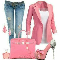 Love everything about this outfit pink jeans and well pink! Want so bad Hot Outfits, Classy Outfits, Pretty Outfits, Stylish Outfits, Fashion Outfits, Diva Fashion, Womens Fashion, Fashion News, Outfit Combinations