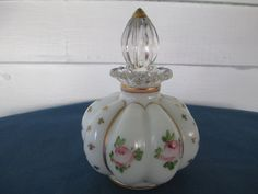 Vintage Tyndale Puffy Pink Rose Perfume Bottle With by BitofHope
