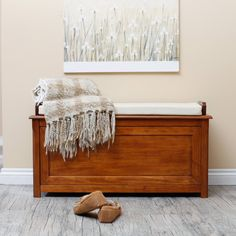 Cedar Chest Mission Bench with Cushion - Oak - Indoor Benches at Hayneedle