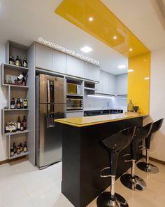 """735 curtidas, 7 comentários - DECORDIARIO (@decordiario) no Instagram: """"Inspiração cozinha por Renzo Cerqueira. Cozinha integrada com a sala de estar com design…"""""""