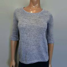 New Look Marled Knit Top Womens UK 10 US Medium 8 Blue Gray 3/4 Cuffed Sleeve #NewLook #Basic #Casual Blue Grey, Gray, Cardigans, Sweaters, New Look, Blouses, Pullover, Medium, Knitting