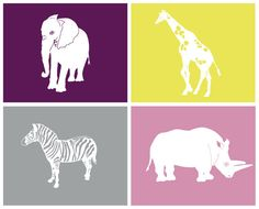 Safari Nursery Art zoo animal decor 4 8 x 10 prints  by nevedobson, $80.00