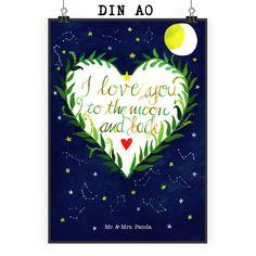 Poster DIN A0 Love u to the moon & back aus Papier 160 Gramm  weiß - Das Original von Mr. & Mrs. Panda.  Jedes wunderschöne Poster aus dem Hause Mr. & Mrs. Panda ist mit Liebe handgezeichnet und entworfen. Wir liefern es sicher und schnell im Format DIN A0 zu dir nach Hause. Das Format ist 841 mm x 1189 mm.    Über unser Motiv Love u to the moon & back  I love you to the moon and back - diese Worte können noch nicht annähernd beschreiben, wie wichtig uns unser Partner ist.     Verwendete…