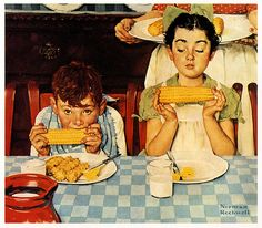 The late Norman Rockwell. Norman Rockwell painting Norman Rockwell - I love his artwork! This makes me think of what my mom and her brothers would have been like eating dinner. Norman Rockwell Prints, Norman Rockwell Paintings, Arte Pop, Illustrations, Fun Illustration, Caricatures, Mail Art, American Artists, American Food