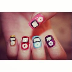 These colorful iPod nails. | 19 Amazing Nail Art Designs 2000s Girls Will Love
