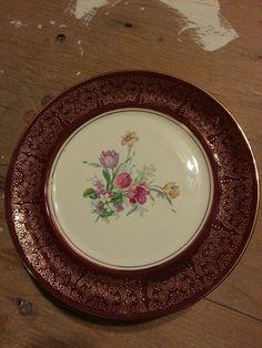 8 Antique Burgundy Gold rimmed plates