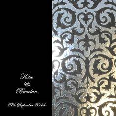 Layered Metallic Icon Square Horizontal Invite and Pocket 145mm in Black - DreamDay Wedding Invitations