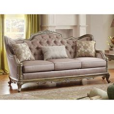 Fiorella Gold Faux Silk Sofa by Homelegance - Pay nothing for shipping directly to your door and get a great price from Coleman Furniture. Sofa Chair, Sofa Furniture, Sofa Set, Luxury Furniture, Living Room Furniture, Rustic Furniture, Modern Furniture, Regency Furniture, Furniture Stores