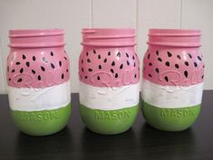 Set of 3 Watermelon Mason Jars Birthday Party by WillowCreekGlass, $24.00