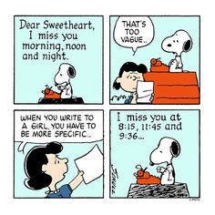 """be more specific,"""" Snoopy gets writing advice from Lucy Van Pelt. Snoopy Cartoon, Snoopy Comics, Peanuts Cartoon, Peanuts Comics, Peanuts Snoopy, Charlie Brown And Snoopy, The Peanuts, The Awkward Yeti, Comics"""
