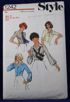 1970's Sewing Pattern for a Woman's Blouse & Scarf in Size 12 - Style 1242 by TheVintageSewingB on Etsy Vintage Knitting, Vintage Sewing Patterns, Blouse Patterns, Fashion Branding, Pattern Fashion, Shirt Blouses, Blouses For Women, 1970s, Stitch