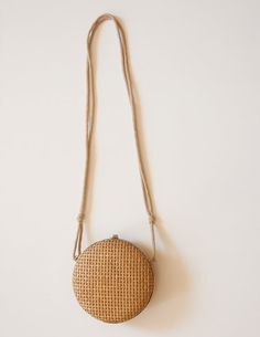 Unique VIntage Round Woven Straw Frame Bag with Rope Strap