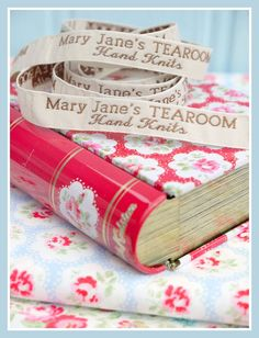 Mary Jane's TEAROOM Woven Labels x 4 / New / by maryjanestearoom, $3.90