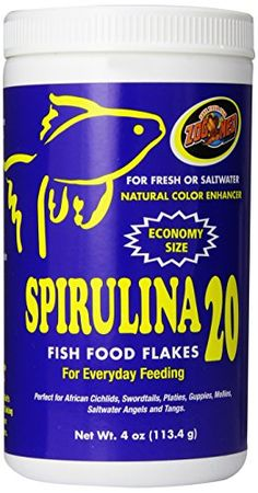 Zoo Med Spirulina 20 Flake Fish Food, 4-Ounce - https://www.balanced4u.net/crittercare/zoo-med-spirulina-20-flake-fish-food-4-ounce/