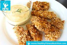 Gesunde Chicken Nuggets Rezept (Low-Fat) mit Knoblauch-Dip