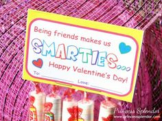 Free Valentine's Day Printable. Being Friends Makes Us SMARTIES!   #Valentines #Smarties #printables