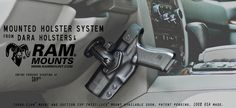 Mounted Vehicle Holsters for cars, trucks and motorcycles using RAM Mounts. Car Holster, Holsters, 2018 Ram, Hard To Get, Firearms, Guns, Bang Bang, Weapon, Dodge