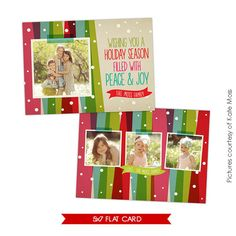 INSTANT DOWNLOAD  Christmas Card Photoshop template  by birdesign