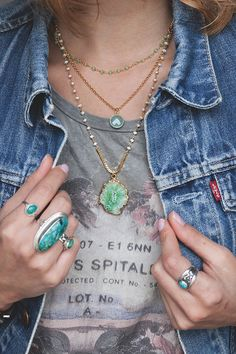layered necklaces + rings