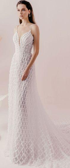 Spaghetti straps sexy back floral applique a line wedding dress #wedding #weddingdress #weddingdresses #weddinggown #weddinggowns #bridedress