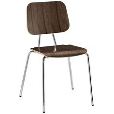 Mid-Century Modern Wooden Plywood Chair with Metal Legs in Walnut