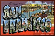 Greetings from California vintage postcards