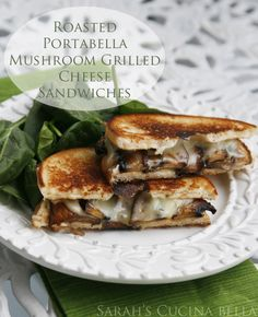 Roasted Portabella Mushroom Grilled Cheese Sandwich -- a grown-up version of the classic favorite Lunch Recipes, Vegetarian Recipes, Cooking Recipes, Healthy Recipes, Burger Recipes, Delicious Recipes, Easy Recipes, Grilled Portabella Mushrooms, Stuffed Mushrooms