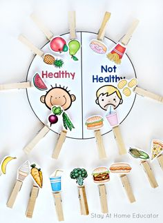 Printable Food and Nutrition Activities for Preschoolers Healthy vs. Not Health Sort - 1 of 6 printable nutrition activities for preschoolersHealthy vs. Not Health Sort - 1 of 6 printable nutrition activities for preschoolers Food Activities For Toddlers, Nutrition Activities, Sorting Activities, Activites For Preschoolers, Preschool Language Activities, Food Groups For Kids, Food Games For Kids, English Activities For Kids, Pre K Activities