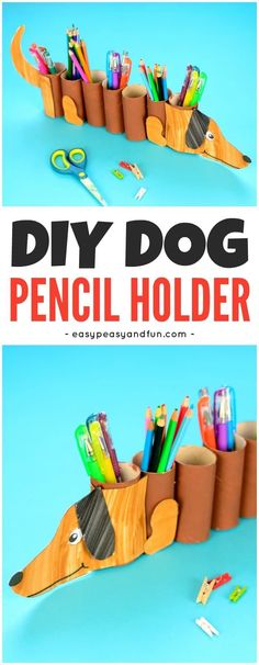 DIY Paper Roll Dog Pencil Holder Craft for Kids With Dog Template Included