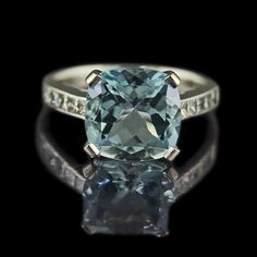 """deep water"" cushion cut aquamarine engagement ring = LOVE!! my favorite cut & my birthstone!"